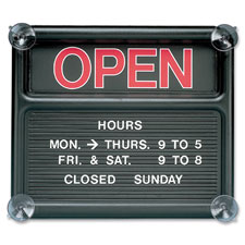 "Open/closed sign,318 characters f/custom msgs,14""x12"",bk, sold as 1 each"