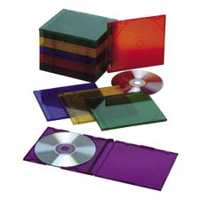 Slim cd/dvd cases, plastic, 25/pk, ast colors, sold as 1 package