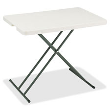 "Iceberg Lightweight Adjustable Personal Table - Rectangle - 20"" x 30"" - Polyethylene - Platinum"