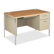 "Right pedestal desk, 48""x30""x29-1/2"", nl maple/ccl/metallic, sold as 1 each"