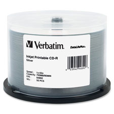 Verbatim Silver Inkjet Printable CD-R Spindle