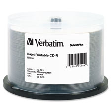 Verbatim 52X White Inkjet Printable CD-R Spindle