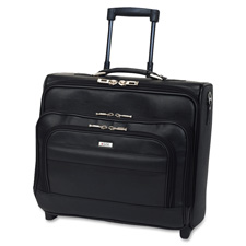 US Luggage Dual Entry Lthr Rolling Computer Case