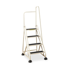 "4-step ladder, w/ right handrail, 24-5/8""x33-1/2""x66"", beige, sold as 1 each"