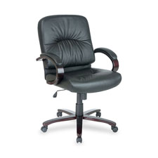 """Managerial mid-back chair,26-1/2""""x28-3/4""""x42-1/4"""",my/bk lthr, sold as 1 each"""