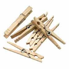 Chenille Kraft Large Spring Natural Clothespins