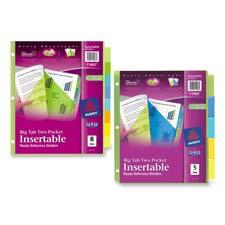 Avery Plastic 2-Pocket Insertable Tab Dividers