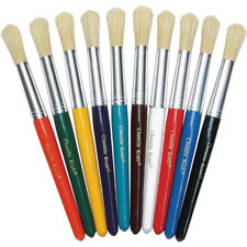 "Paint brushes,natural bristles,round,7-1/2"" hdle,10/st,asst., sold as 1 set"