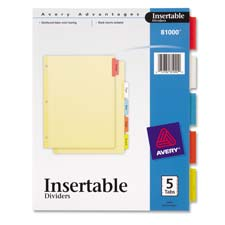 "Insertable dividers, 3-hp, 5 tab, 8-1/2""x11"", multi-color, sold as 1 set, 750 each per set"