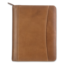 Franklin Distressed Leather Zipper Binder