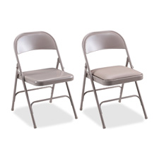 Lorell U-Brace Steel Folding Chairs