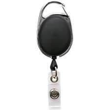 "Clip id badge reel, caribiner style, 30"", matte black, sold as 1 each"