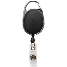 "Clip id badge reel, caribiner style, 30"", matte black, sold as 1 each"