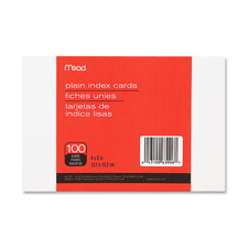 Index cards, plain, 4x6, unruled, 100/pk, white, sold as 1 package