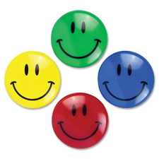 "Smiley face magnets, 1-1/2"" d, 2/pk, assorted, sold as 1 package"