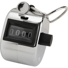 Tally counter, w/ finger ring, 4 figure, silver, sold as 1 each