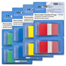 "Removable standard flags, dispenser, 1"", 100/pk, red, sold as 1 package"