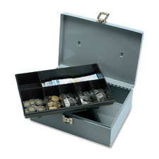 "Cash box, w/ latch lock,7 cmpmnts, 11""x7-3/4""x4-3/4"", gray, sold as 1 each"