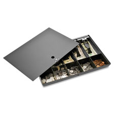 "Money tray, w/ locking cover, 16""x11""x2-1/4"", black, sold as 1 each"
