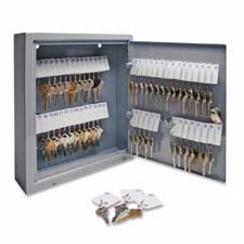 "Secure key cabinet, key lock, 14""x3""x17-1/8"", 80 keys, gy, sold as 1 each"