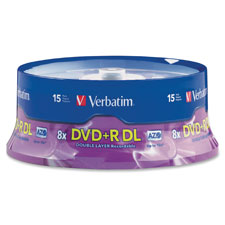 Dvd+r, double layer, 8x, 8.5gb, branded, 15/pk, sold as 1 package