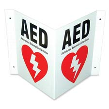 Defibtech Defibrillator Three-way Wall Sign