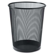 "Round waste bin, steel mesh, 4.7 gal., 12""x14-1/4"", black, sold as 1 each"