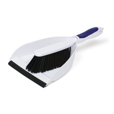 Dust pan set, includes hand sweep, white, sold as 1 each