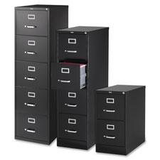 "Vertical file, 4-drawer, legal, 18""x26-1/2""x52"", black, sold as 1 each"