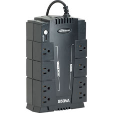 Ups backup system w/ avr,8 outlets,550va,330w,6' cord,black, sold as 1 each