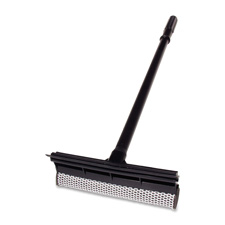 "Plastic squeegee, scrubber, 24"" handle, black, sold as 1 each"