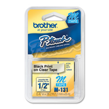 Brother 1/2' Black on Clear Non-Laminated Tape