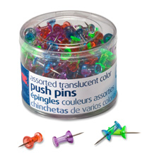 "Pushpins, steel point, 1/4""dia x 1/2""l, 200/pk, ast, sold as 1 package, 24 each per package"