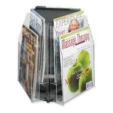 "Triangle tabletop display, f/ 9""w magazines,15""x15""x14"", cl, sold as 1 each"
