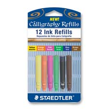 Ink refill, for calligraphy pen,water-based,12/pk,assorted, sold as 1 package, 12 each per package