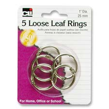 """Looseleaf ring, 1"""" diameter, 5/pk, silver, sold as 1 package"""