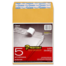"Press and seal envelopes, 9""x12"", 5/pk, brown craft, sold as 1 package, 3 each per package"