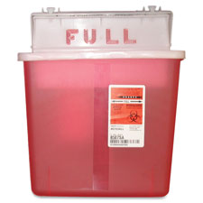 Sharps container,w/ counter balanced lid, 5 quart, red, sold as 1 each
