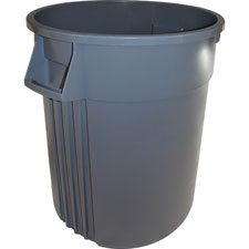 Trash containers, heavy-duty, 32 gallon, gray, sold as 1 each