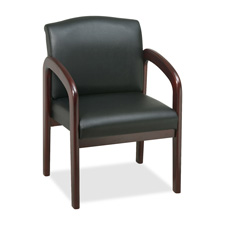 "Guest chair, 23""x25-1/2""x33-1/2"", black/mahogany frame, sold as 1 each"