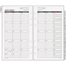 "Tabbed mnthly calendar, jan/dec,3-3/4""x6-3/4"", 6-ring, we/cm, sold as 1 each"