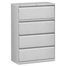 "Lateral file, 4-drawer, 42""x18-5/8""x52-1/2"", lt gray, sold as 1 each"