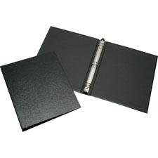 "Round ring binder, 1"" capacity, leather grain, black, sold as 1 each, 100 each per each"