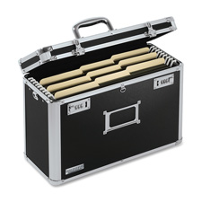 "Locking file tote,legal,16-3/4""x7-1/4""x12-1/4"",black/chrome, sold as 1 each"