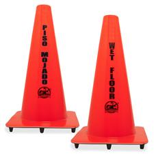 Genuine Joe Bilingual Wet Floor Cones
