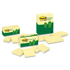 3M Post-it 100% Recycled Canary Original Note Pads