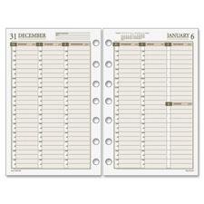 "Weekly planning page refill,7hp,5-1/2""x8-1/2,7-ring,we/cm, sold as 1 each"