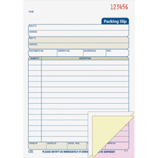 "Packing slip book,3-part,1/2""x5-1/2""x8-2/5"",50 sets/bk,we, sold as 1 each"