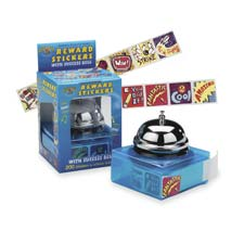 "Rewards success bell sticker dispenser, 1""x1"", 200 stickers, sold as 1 package"