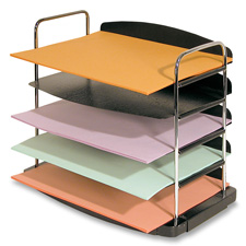 """Desk tray, 5-tier, horizontal, 12""""x8-1/2""""x11-1/4"""", charcoal, sold as 1 each"""